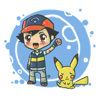 Chibi Ash and Pikachu by oober-zombie