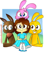 -Little Girl And Three Bunnies- by rainbowbutttowski