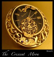 The Crescent Moon: Steampunk Brooch by azazel-is-burning