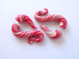 Candycane earrings fake Gauge by cashewed-almonds