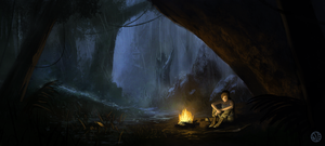 Tomb Raider - Campfire by daveartwork