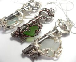 Sea Glass and Skeleton Key Necklace Trio by sojourncuriosities