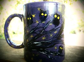 Night Owls - 11-ounce Purple Coffee Mug by InkyDreamz