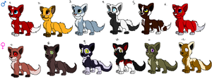 Wolf Pup Adoptables -SET 2- by MochiFries