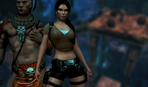 Lara and Totec - Wallpaper 2 by parazombie
