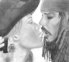 K.Knightley and J. Depp - Pirates of the Caribbean by Ilojleen