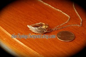 SOLD Detailed Golden Snitch Necklace by kittykat01