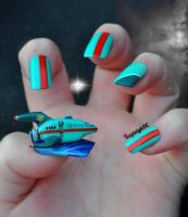 Futurama Nail Art - Planet Express Ship by KayleighOC