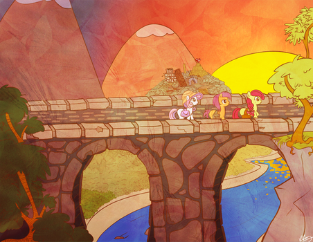 Cutie mark Crusaders and the Temple of Bloom by bunnimation