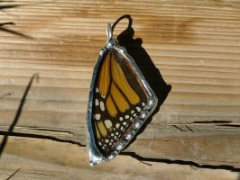 Real Monarch Butterfly Wing Necklace - Front Wing by CaterpillarArts