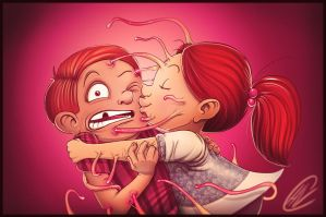 Getting kissed as a child by hartvig-art18