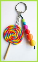 Rainbow Lollipop Keychain by cherryboop
