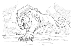 Night elf feral druid sketch by kagesatsuki