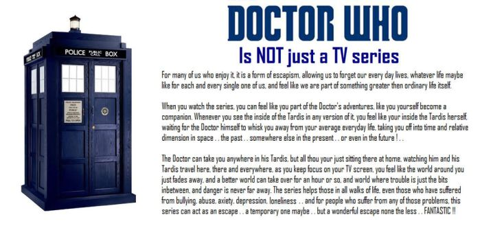 Doctor Who is NOT just a TV series by DoctorWhoOne