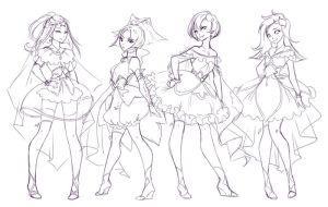 Magical Girls - Regular Group Sketch by rika-dono