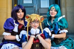 Steam Punk Sailor Saturn, Moon, and Neptune by spritepirate