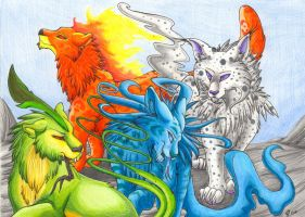 Elemental Beasts by RaikaDeLaNoche