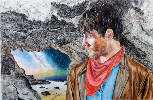 Merlin in the Dragon Cave by quiltineb