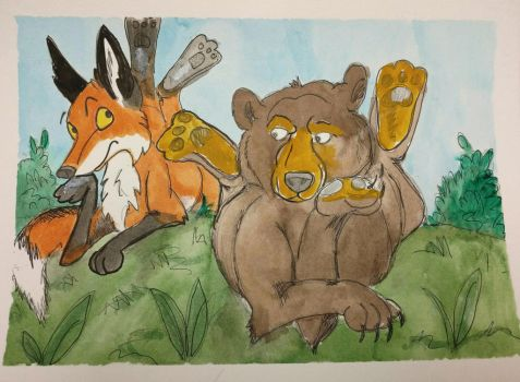 The fox and the bear  by Waddle2u