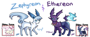 Fakemon: Zephyreon and Ethereon by Pink-Angel-Kitty
