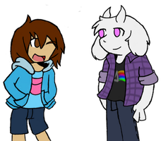 Frisk and Asriel by allanthehedgehog147