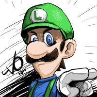Digital Sketch Warm up 39 - Luigi 'Death Stare' by Vostalgic
