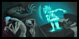 Fighting scene between my astral body and aliens. by neptune82