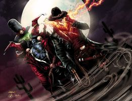Gunslinger Spawn And Western Ghost Rider Colors by nahp75