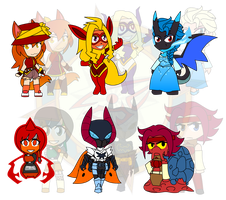 Assorted Chibis - Poketrainer and Her Pokemon by Dragon-FangX