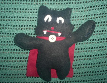Black Vampy Cat with Cape by girl0in0question