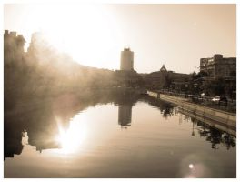 morning river in the city by moodyline