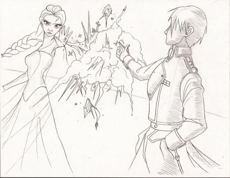 Elsa vs. Roy Mustang by ViperP99