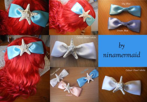 MERMAID HAIR ACCESSORY: Starfish Hair Bow in SBlue by MythsofAtlantis