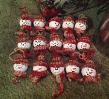 Golfball Snowball Ornaments by Jetyra-Luck