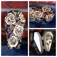 Roses coffin box by VoodooDollyArtwork