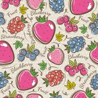 Painted fruit seamless background vector by FreeIconsdownload
