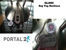 GLaDOS dog tag necklace by PandDoodle