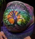 Wicca baby bump paint glitter tattoo prenatal by Bodypaintingbycatdot