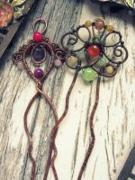 Wire Wrapped Hair pin by Lirimaer86