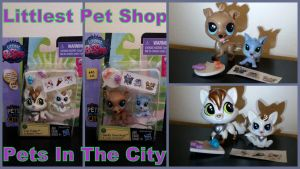 LPS pets in the city Fox and Greyhound Family by Vesperwolfy87
