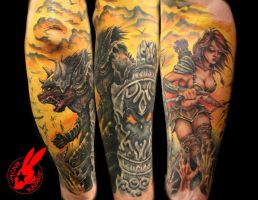 Warrior Half-sleeve Tattoo by Jackie Rabbit by jackierabbit12