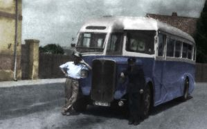 Grandfather and his bus 1950s by mmirkovic