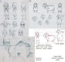 Character Sketches: Alien Cows by gabugurl