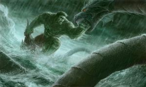Hulk vs Aqua monster by phanou36
