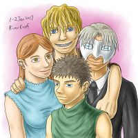 Yuliana, Elijah, Jay and White Mask by RiverKpocc