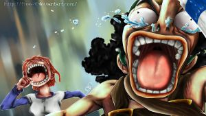 Usopp and Nami escape from Little Garden by Free-D