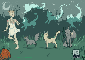 Witches Dance with Cats by jubilalant