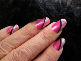 Pink and White Marbling by MayEbony