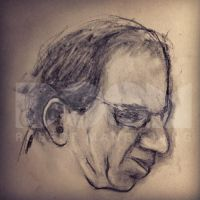Old guy charcoal drawing by DoomCMYK