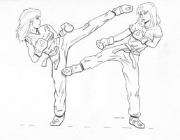 Karate mural: women spar by PaulRG